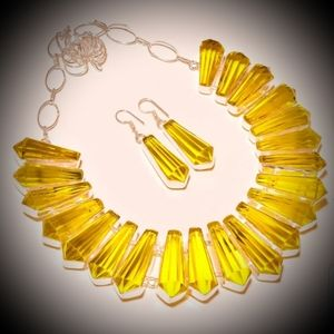 💛 YELLOW TOPAZ NECKLACE AND EARRINGS